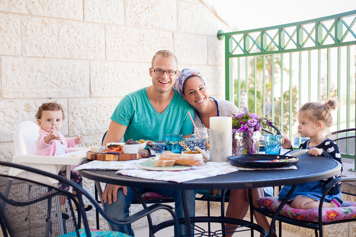 he Spivaks enjoy Friday-morning breakfast on the terrace of their Modi'in apartment three months after making Aliyah.