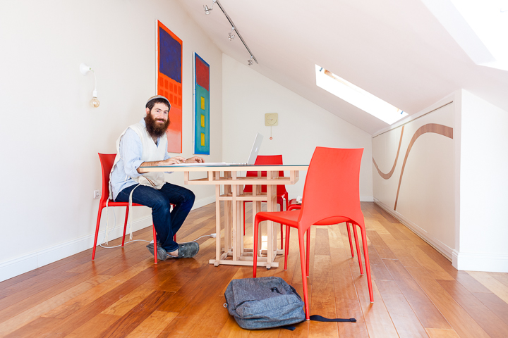 ary Levitt, a struggling musician turned successful entrepreneur, at his home office in Nachlaot, Jerusalem.