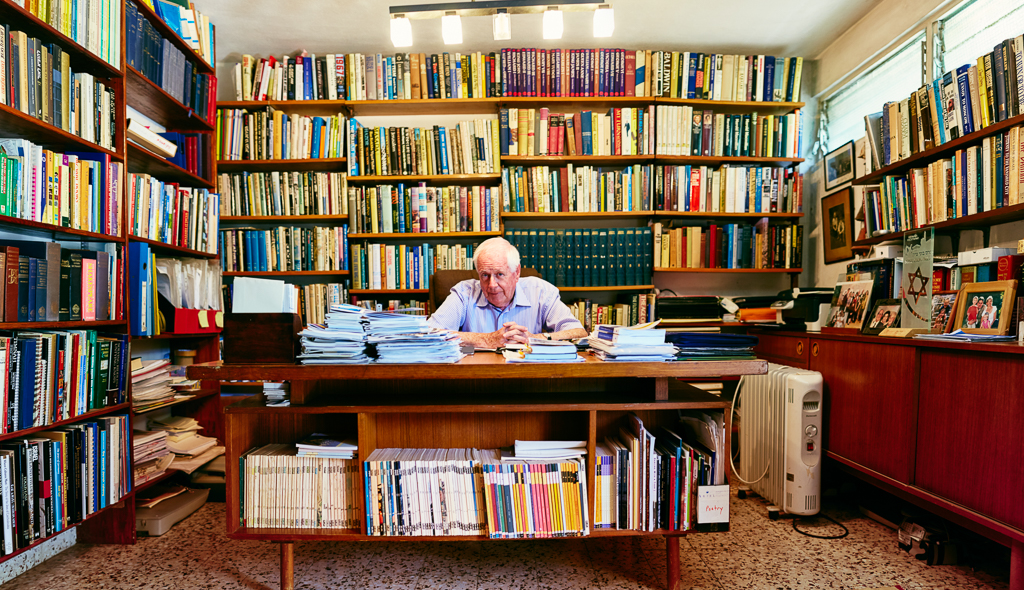 Asher Weill, outstanding contributor to Israeli publishing and culture, in his home office. Aliyah from the UK, 1958. Bonei Zion Prize for Culture, Art & Sports, 2015.